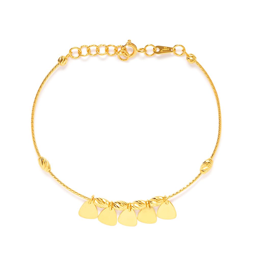 22ct Gold Women's Leaf Charm Banglet - 33694