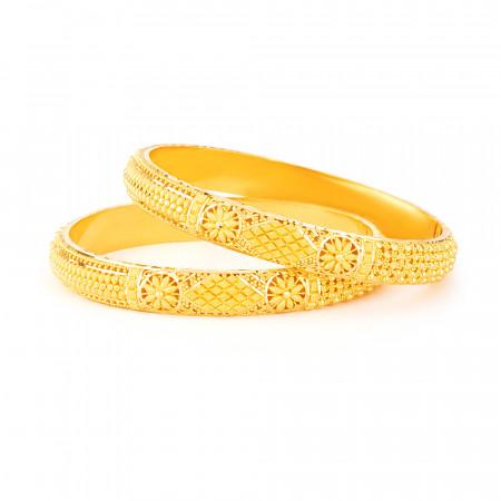 22 carat Gold Jali Kada Bangle Set22 carat Gold Jali Kada Bangle Set