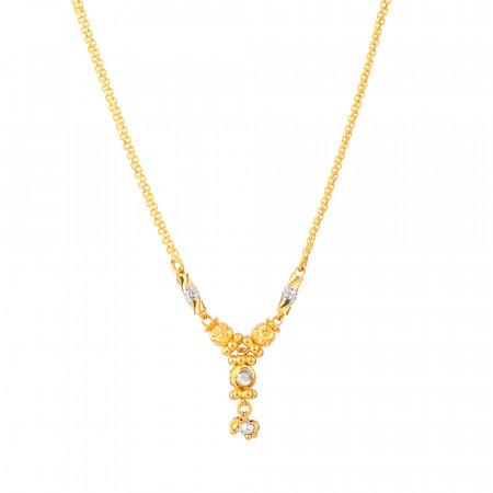 22ct Gold Choker With Rhodium Finish – 33803