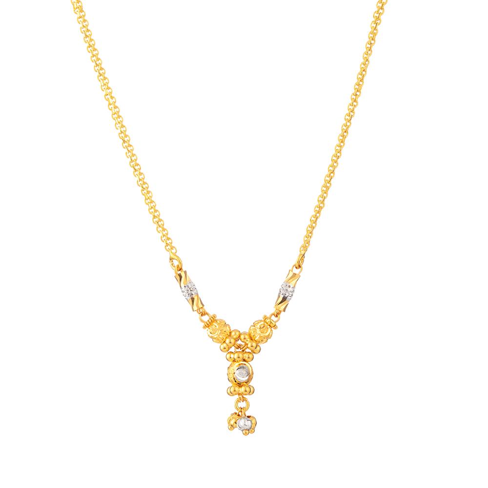 22ct Gold Choker With Rhodium Finish - 33803