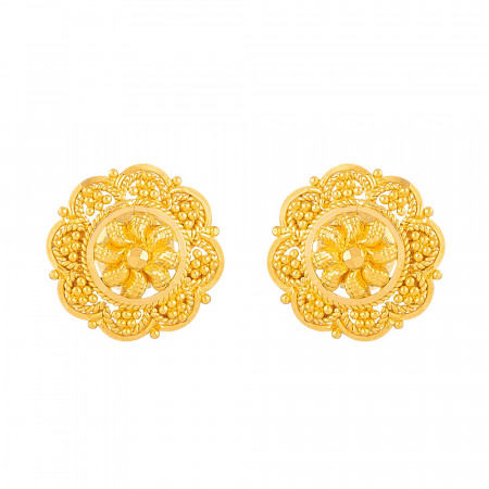 Jali Collection 22ct Gold Stud – 33840