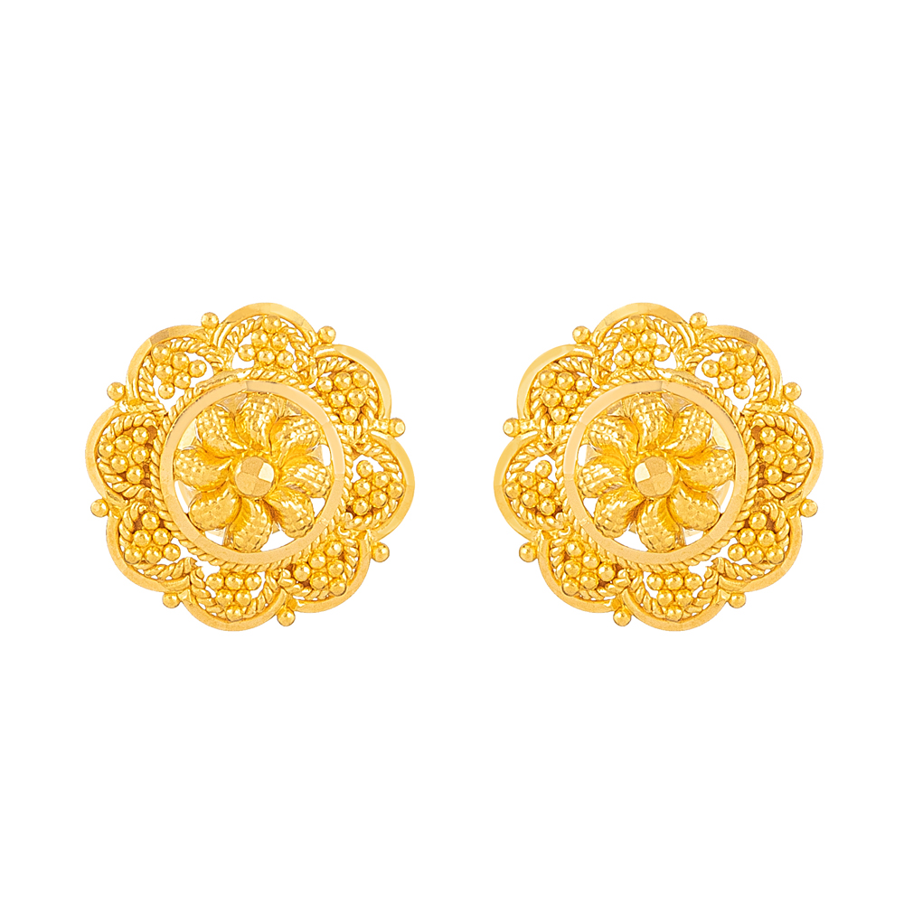 Jali Collection 22ct Gold Stud - 33840