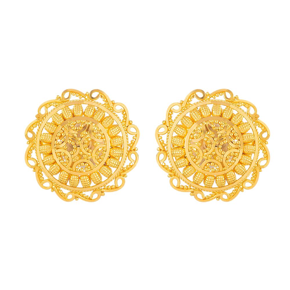Gold Stud Earrings - 33829