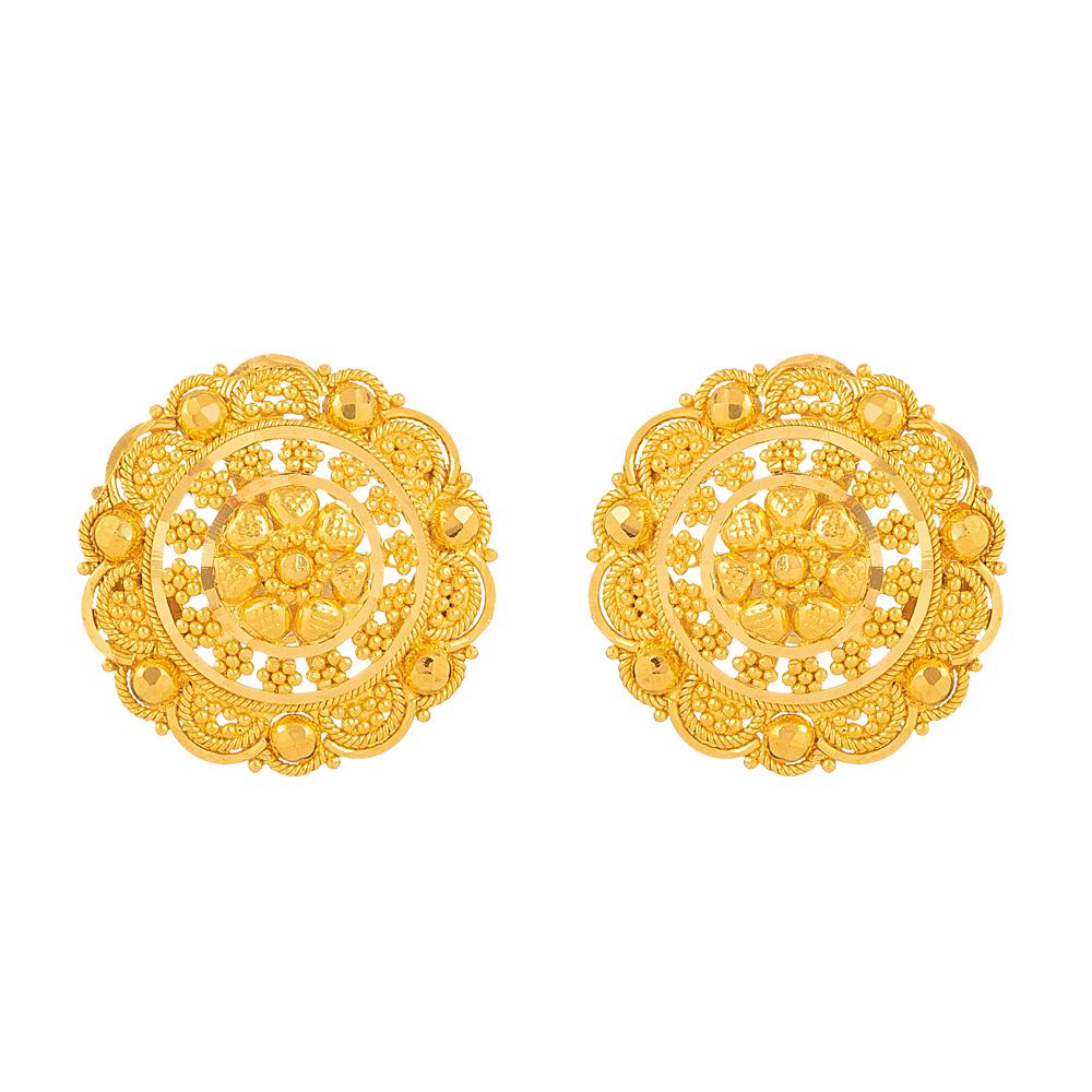 22KT Gold Stud Earring - 33833