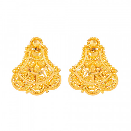Jali Collection 22ct Gold Stud Earring – 33838