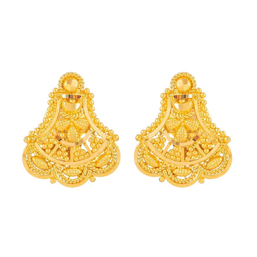 Jali Collection 22ct Gold Stud Earring - 33838