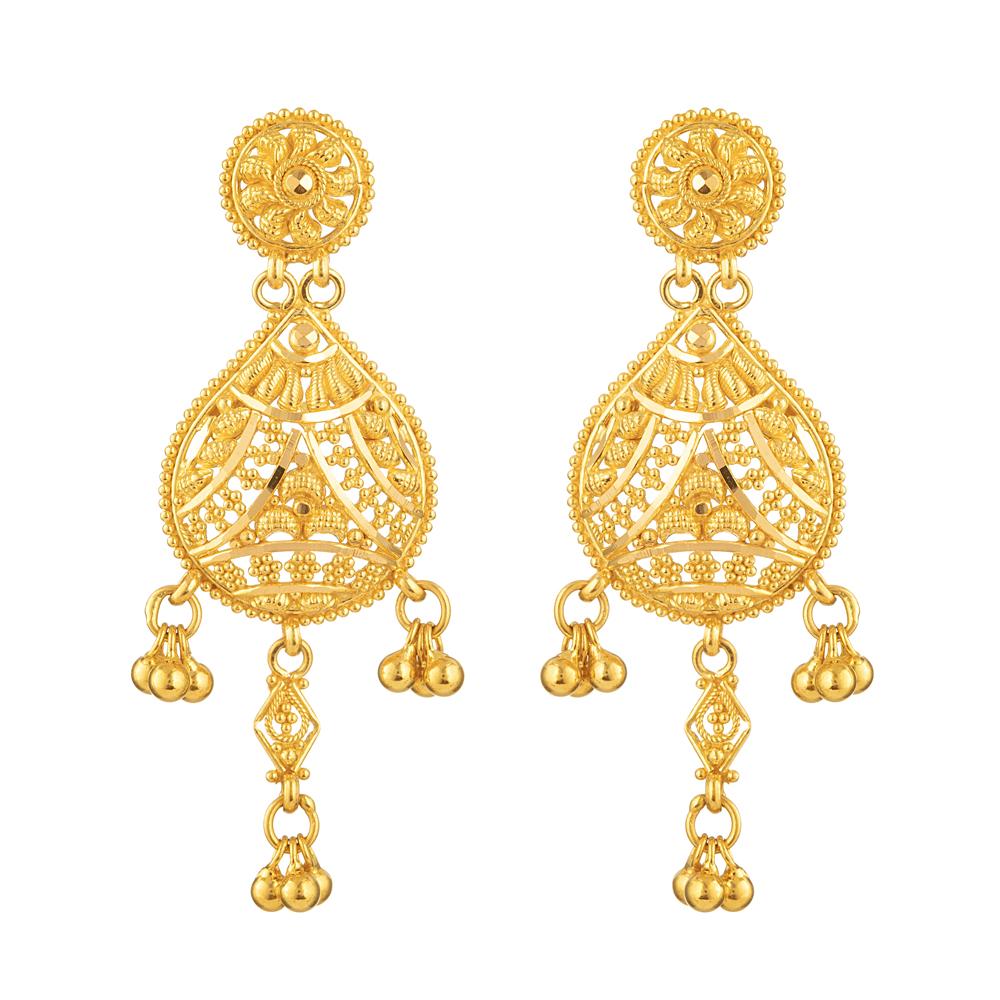 22 Karat Gold Filigree Earring - 33989