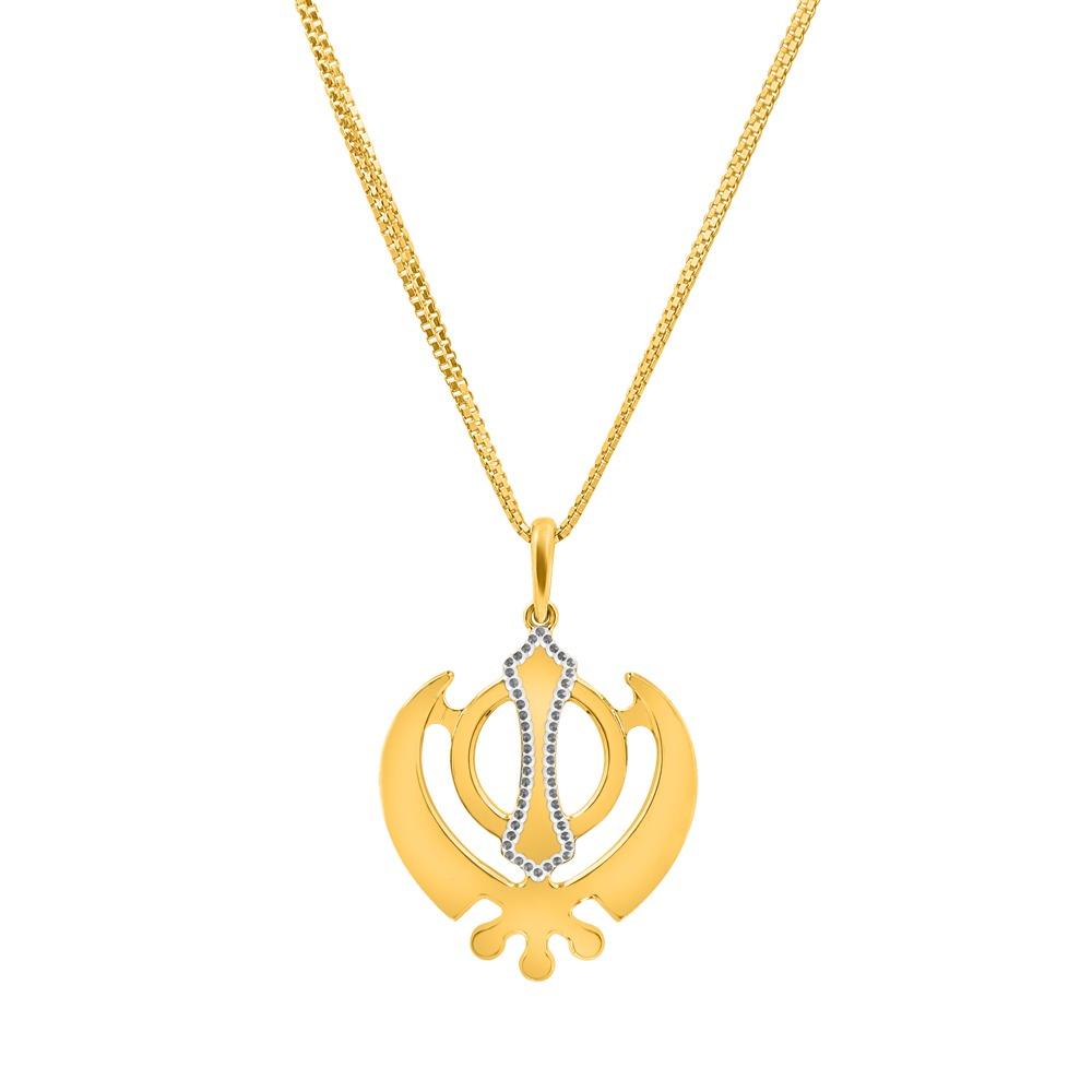 22ct Gold Khanda Sikh Religious Pendant 33905
