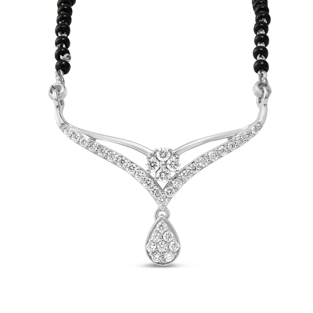 18ct White Gold Single Chain Diamond Mangalsutra 34017-1