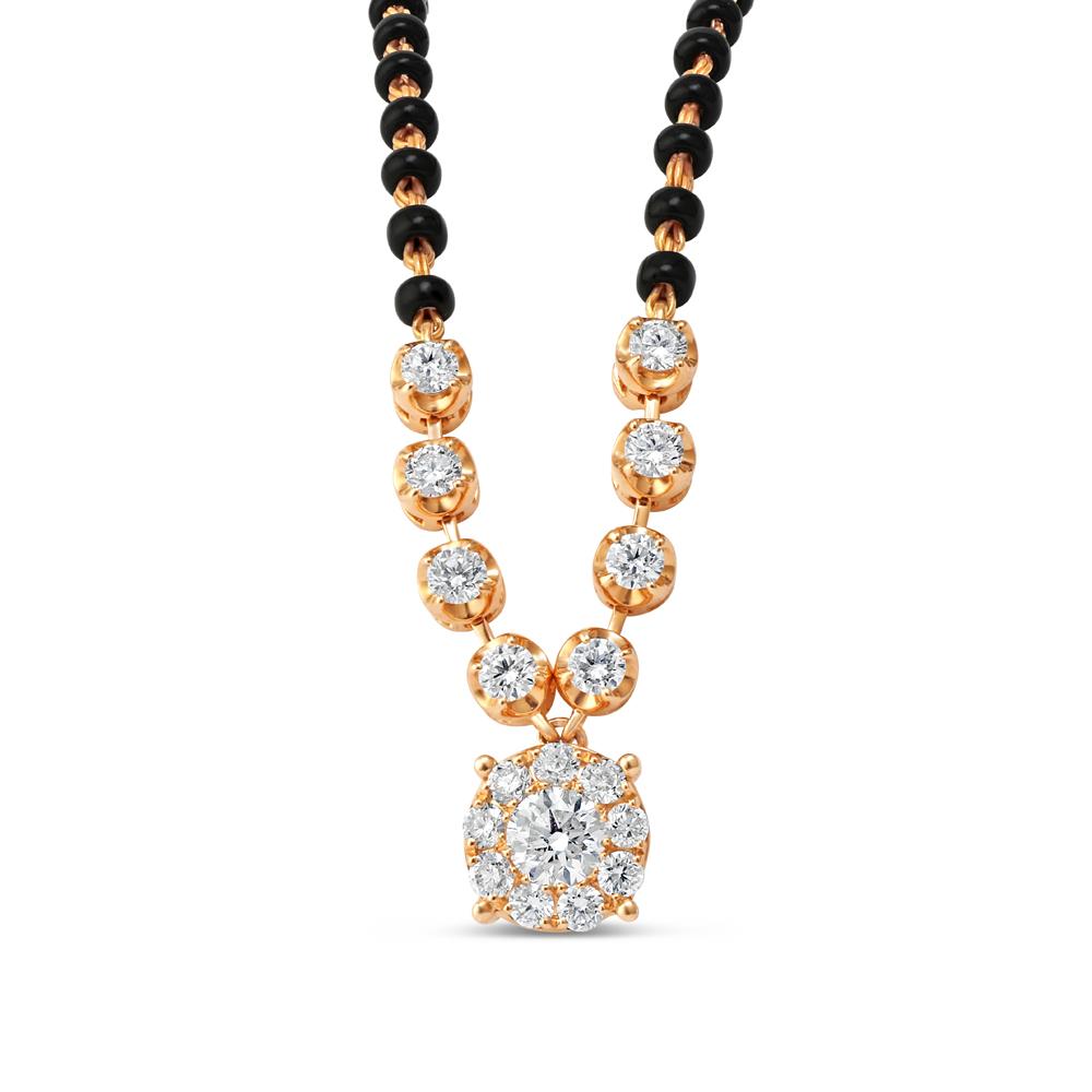 18ct Rose Gold Diamond Mangalsutra - 34183-1