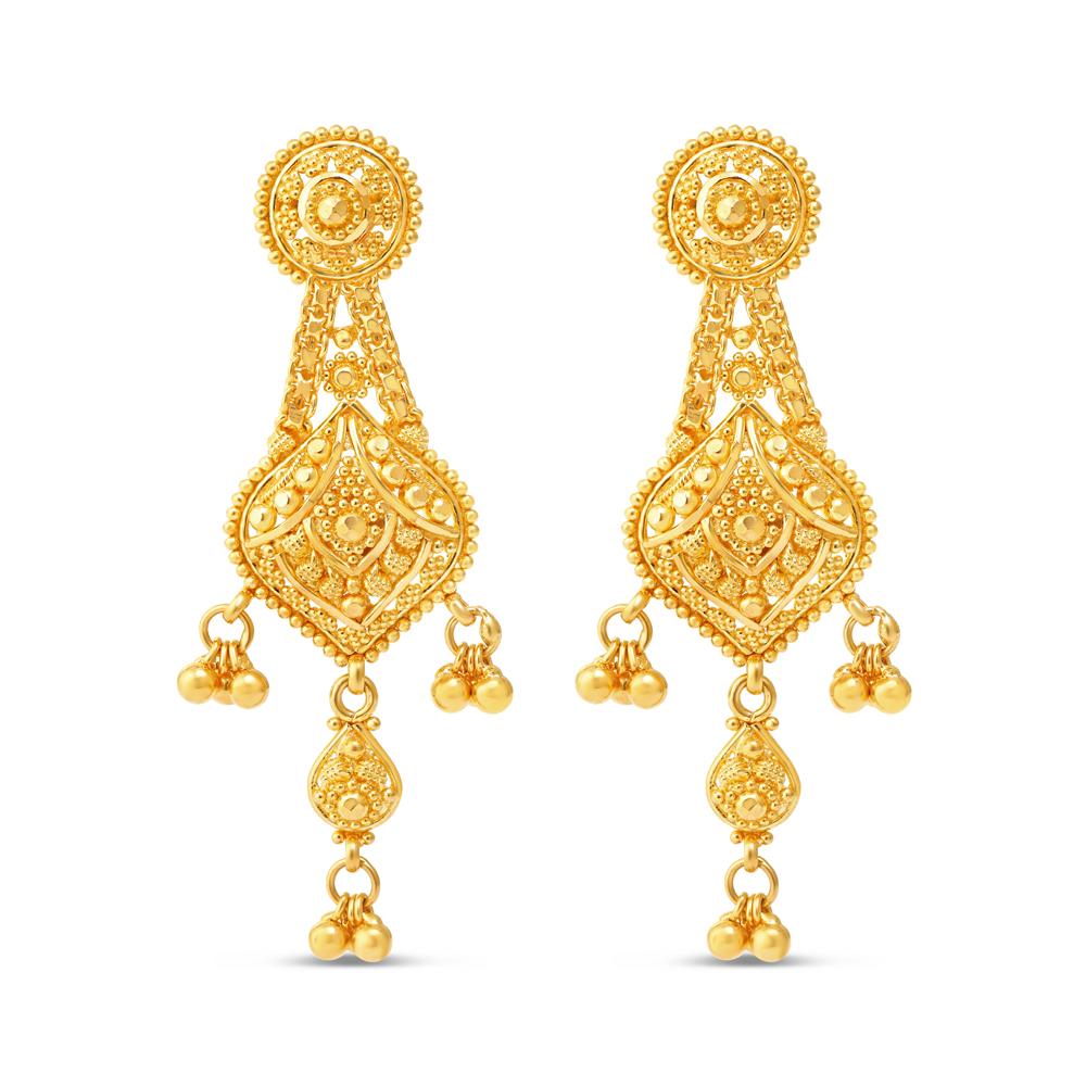 Jali 22ct Gold Filigree Earrings 34223-1