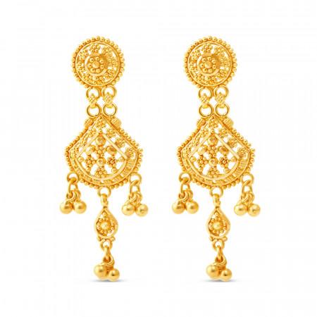 22ct Gold Filigree Earrings 34225-1