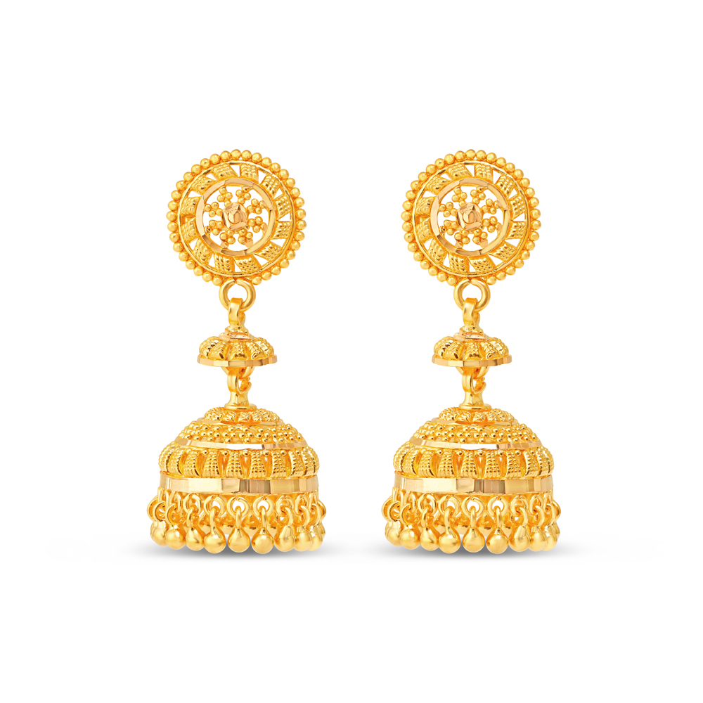 22 carat Gold Filigree Earrings 34294-1