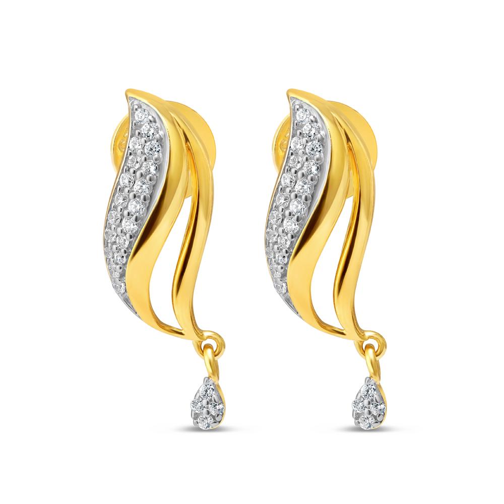 22 Karat Gold Earring with CZ Stones 34599-1