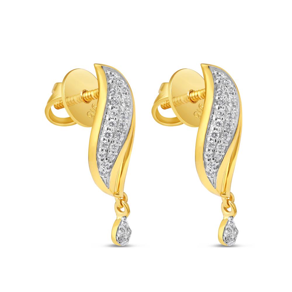22 Karat Gold Earring with CZ Stones 34599-2